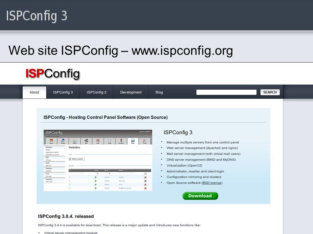 Web site ISPConfig – www.ispconfig.org