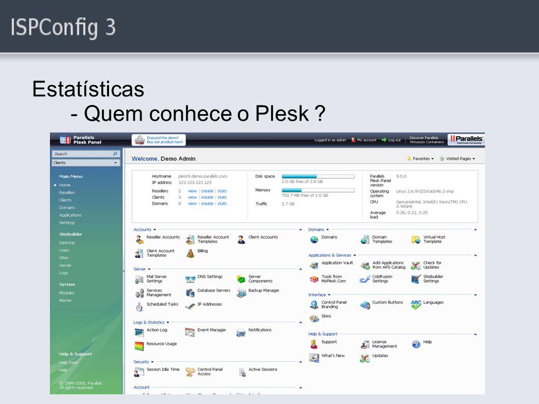 Estatísticas - Quem conhece o Plesk