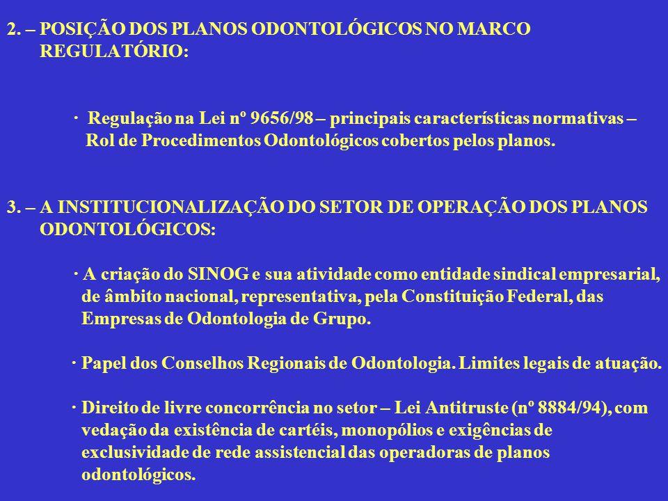 2. – POSIÇÃO DOS PLANOS ODONTOLÓGICOS NO MARCO REGULATÓRIO:
