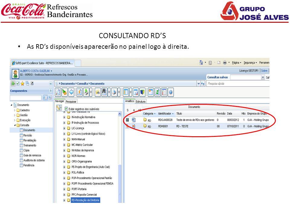 CONSULTANDO RD'S As RD's disponíveis aparecerão no painel logo à direita. Sugestão de pauta para apresentação: