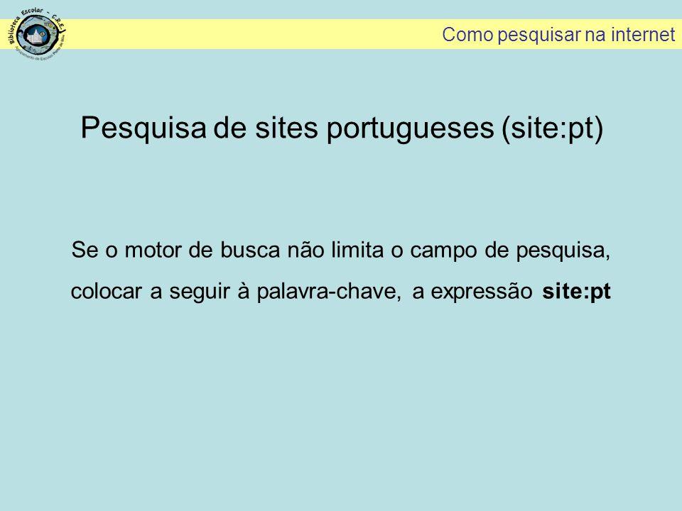 Pesquisa de sites portugueses (site:pt)