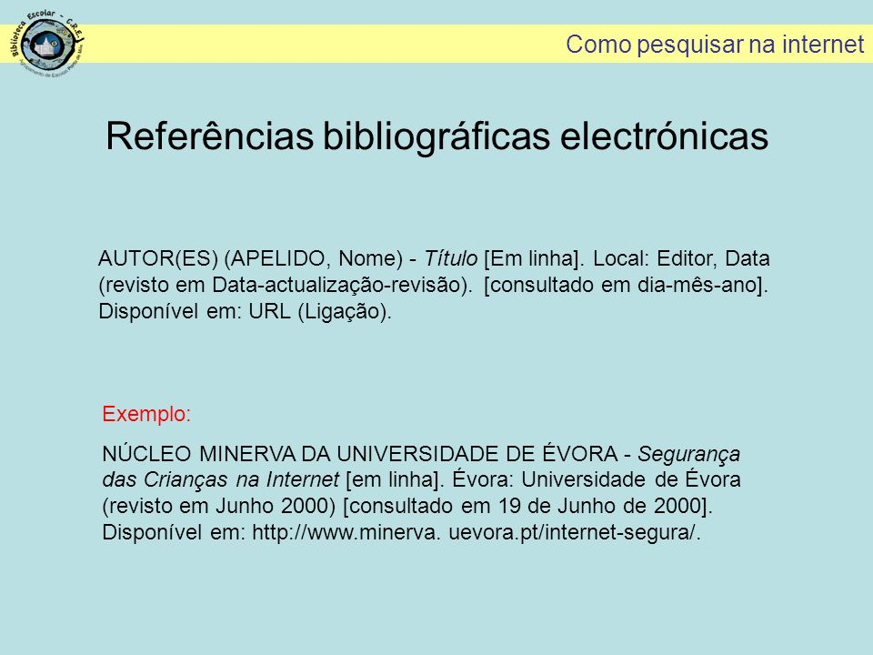 Referências bibliográficas electrónicas