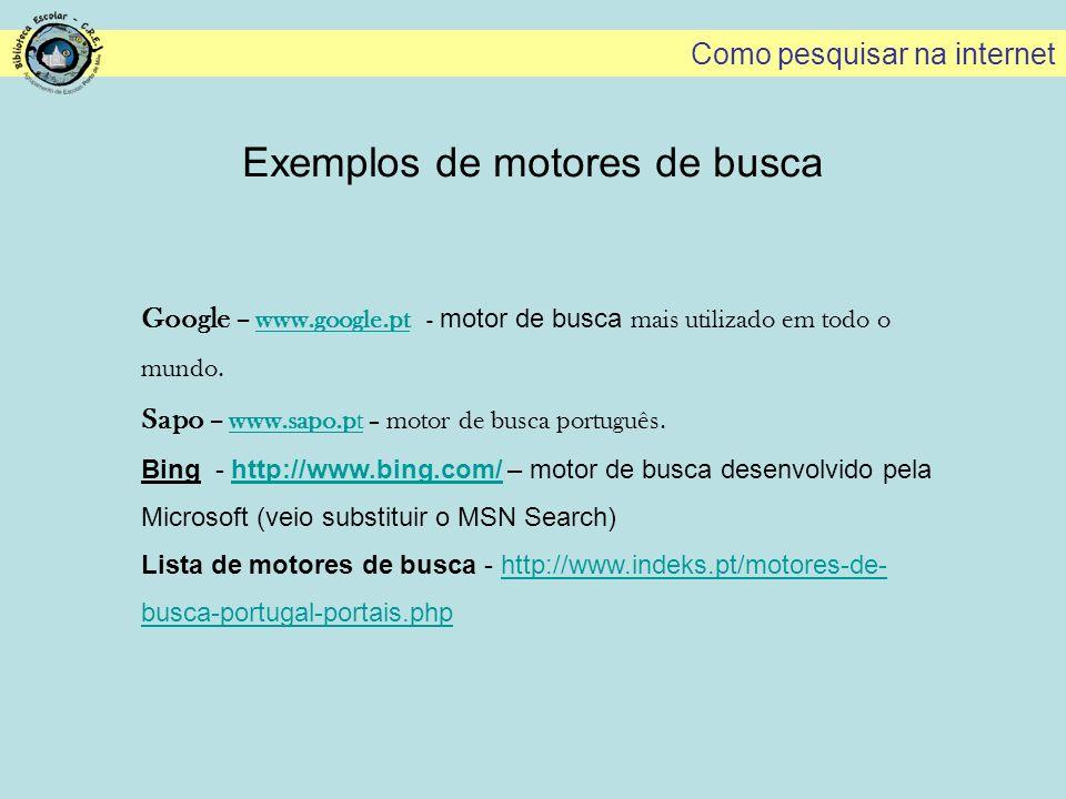 Exemplos de motores de busca