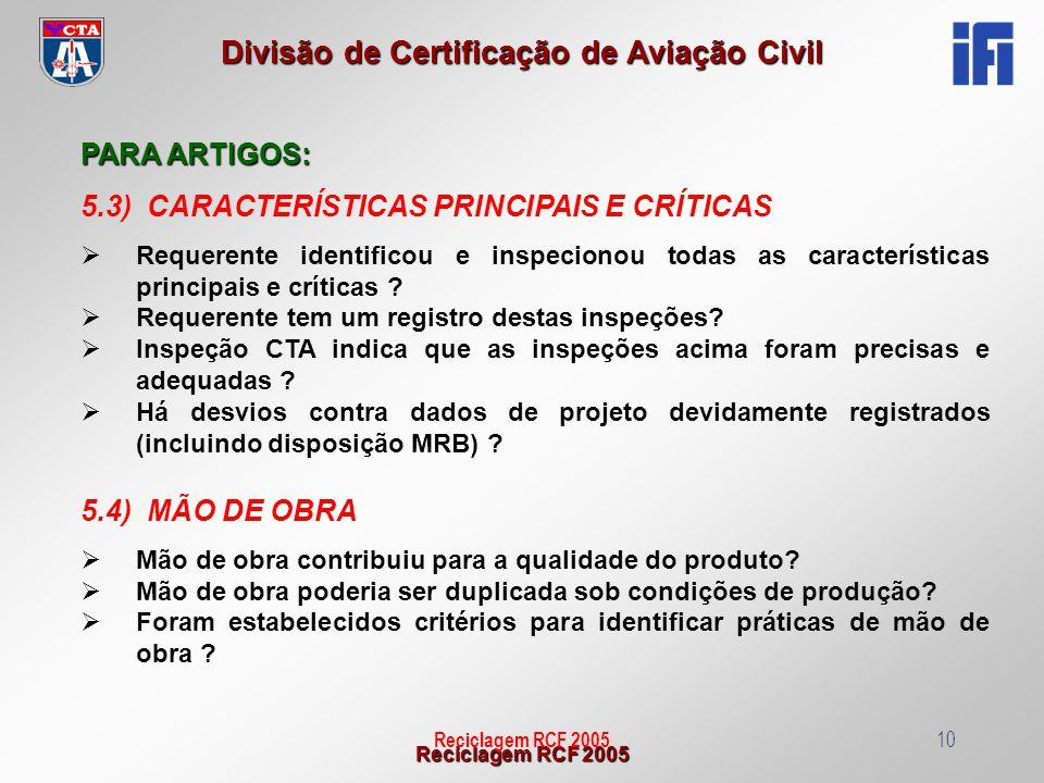 5.3) CARACTERÍSTICAS PRINCIPAIS E CRÍTICAS