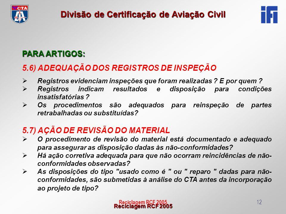 5.6) ADEQUAÇÃO DOS REGISTROS DE INSPEÇÃO