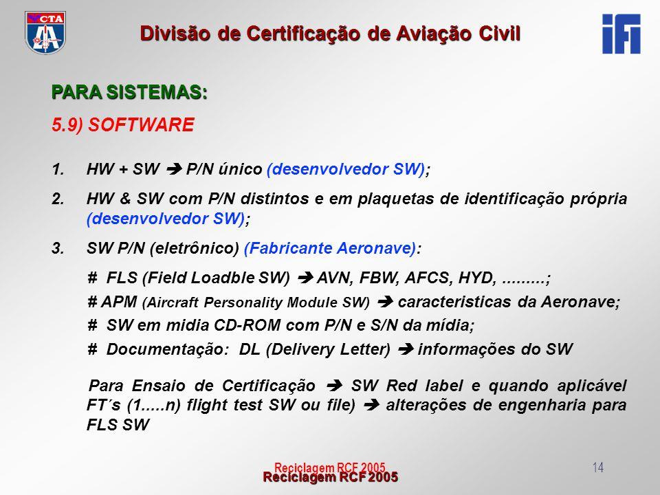 PARA SISTEMAS: 5.9) SOFTWARE HW + SW  P/N único (desenvolvedor SW);