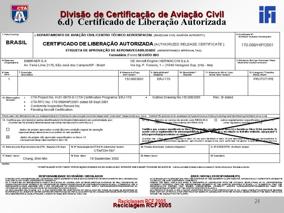 6.d) Certificado de Liberação Autorizada