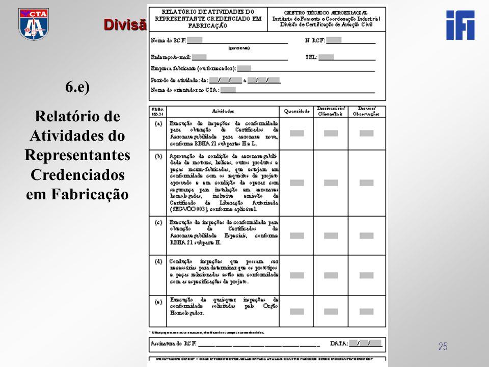 Relatório de Atividades do Representantes Credenciados em Fabricação