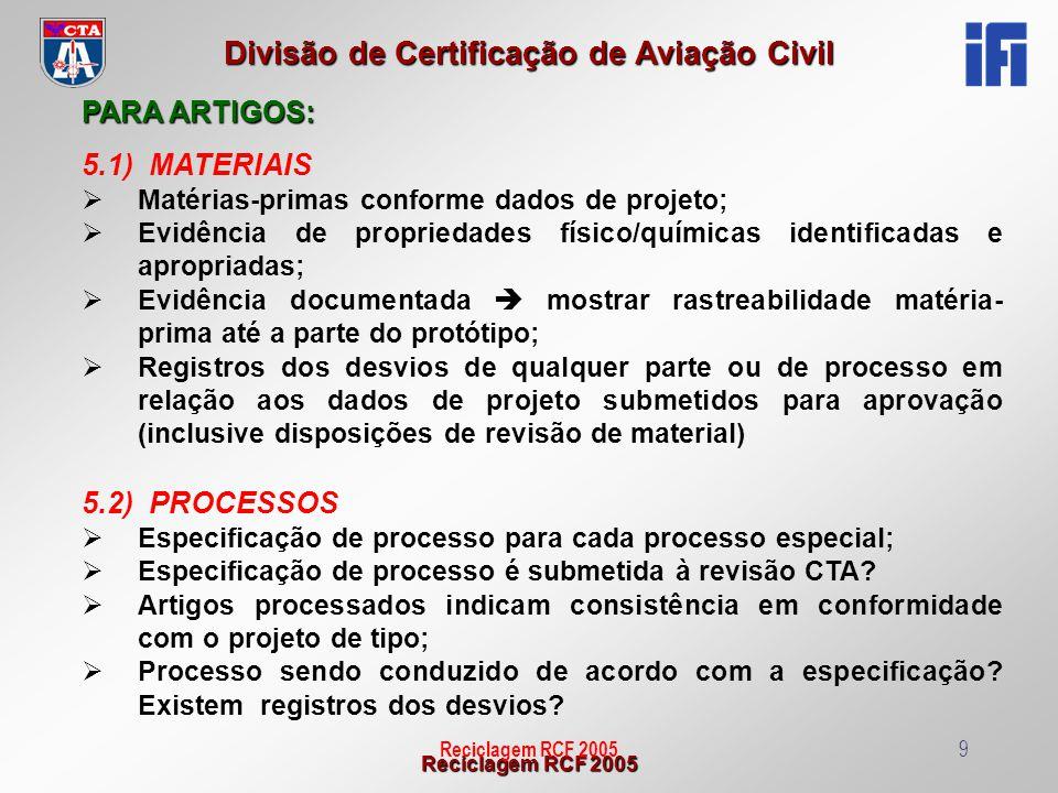 PARA ARTIGOS: 5.1) MATERIAIS 5.2) PROCESSOS