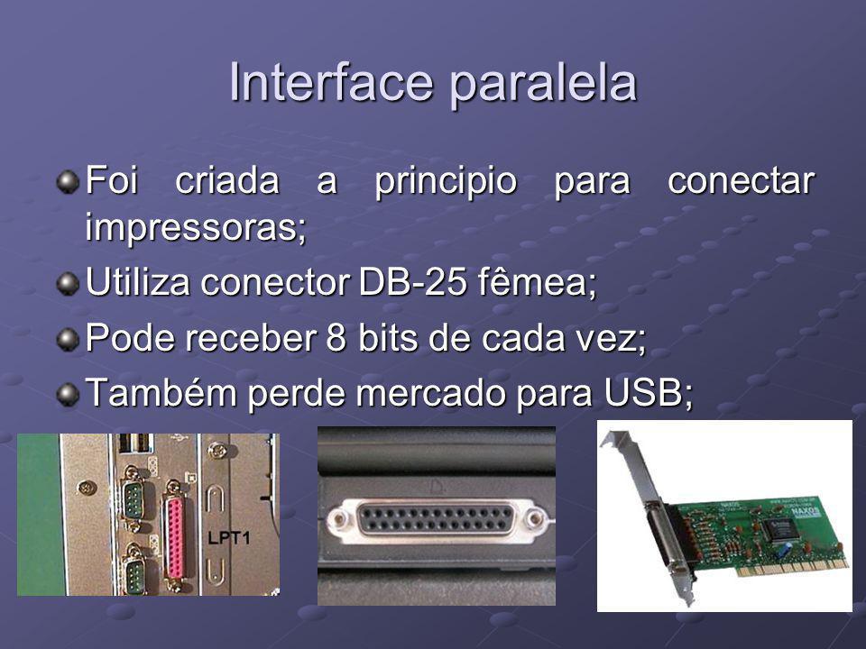 Interface paralela Foi criada a principio para conectar impressoras;