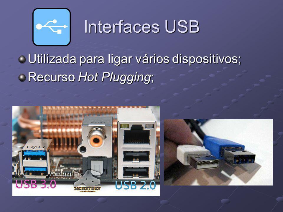 Interfaces USB Utilizada para ligar vários dispositivos;