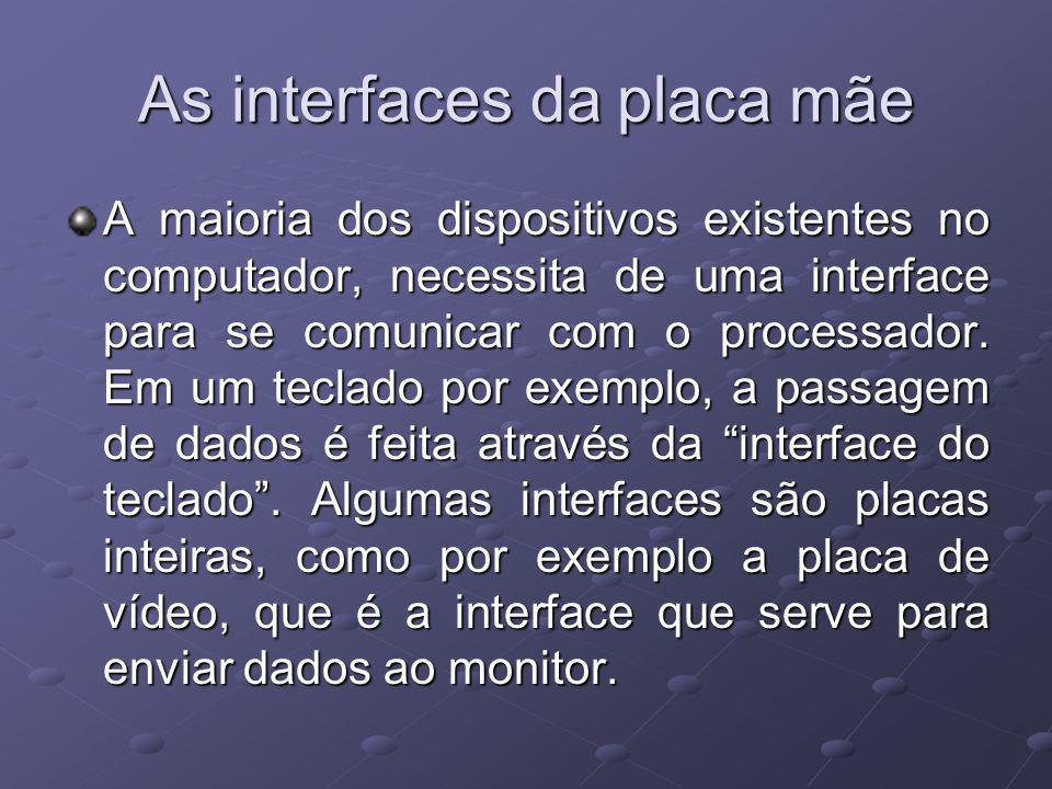As interfaces da placa mãe