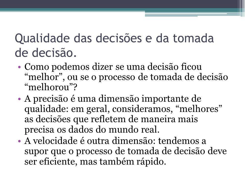 Qualidade das decisões e da tomada de decisão.