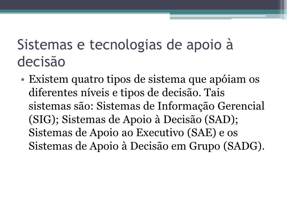 Sistemas e tecnologias de apoio à decisão