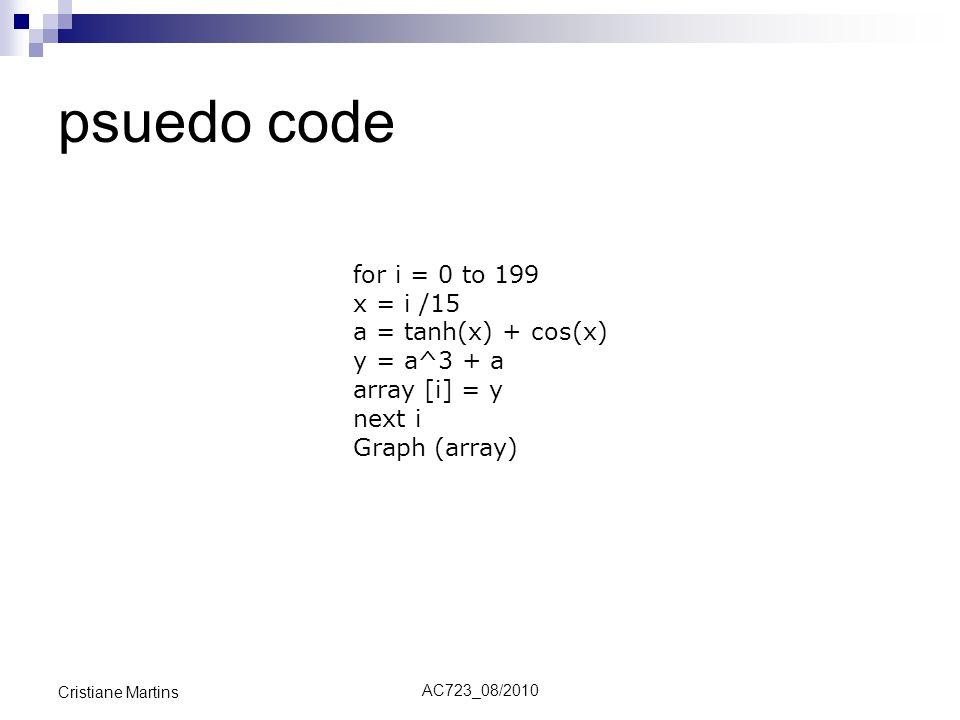 psuedo code for i = 0 to 199 x = i /15 a = tanh(x) + cos(x)