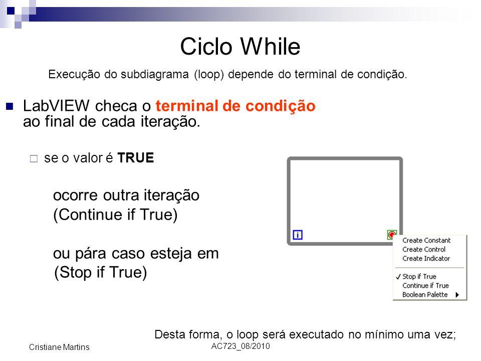Ciclo While Execução do subdiagrama (loop) depende do terminal de condição. LabVIEW checa o terminal de condição ao final de cada iteração.