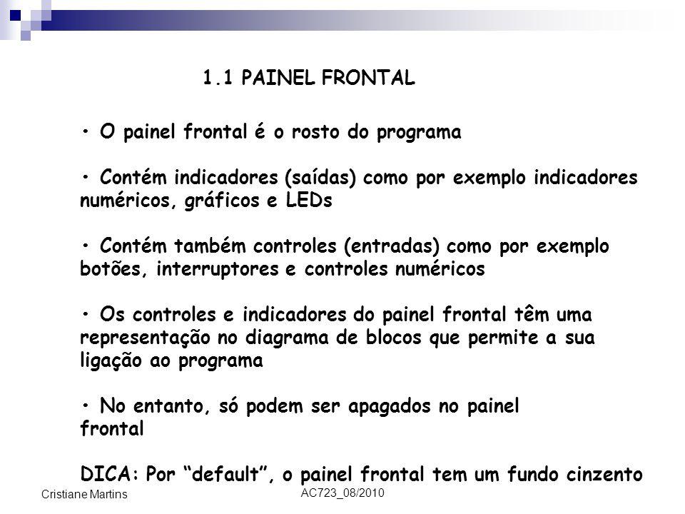• O painel frontal é o rosto do programa