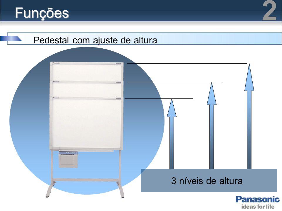 2 Funções Pedestal com ajuste de altura 3 níveis de altura