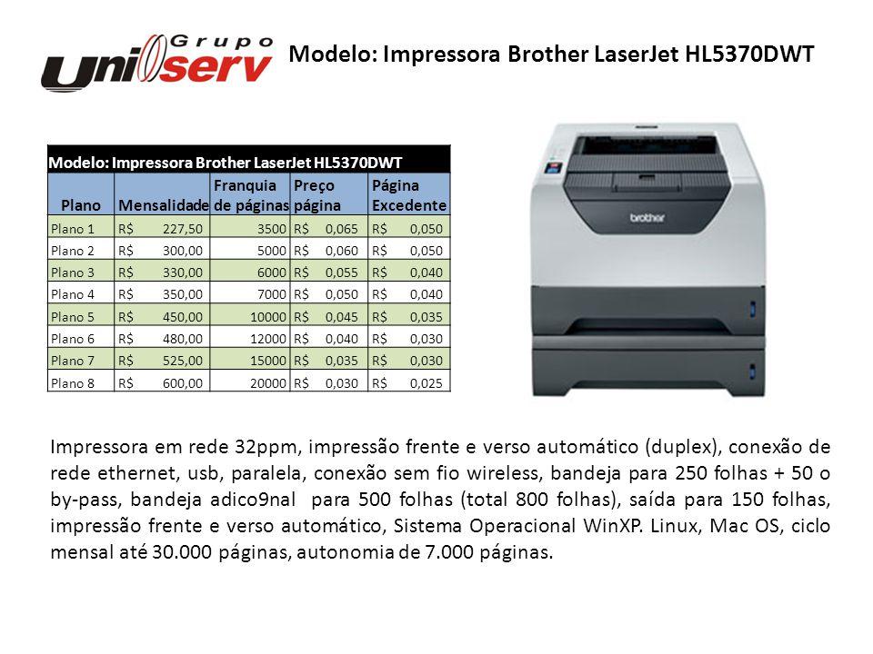 Modelo: Impressora Brother LaserJet HL5370DWT