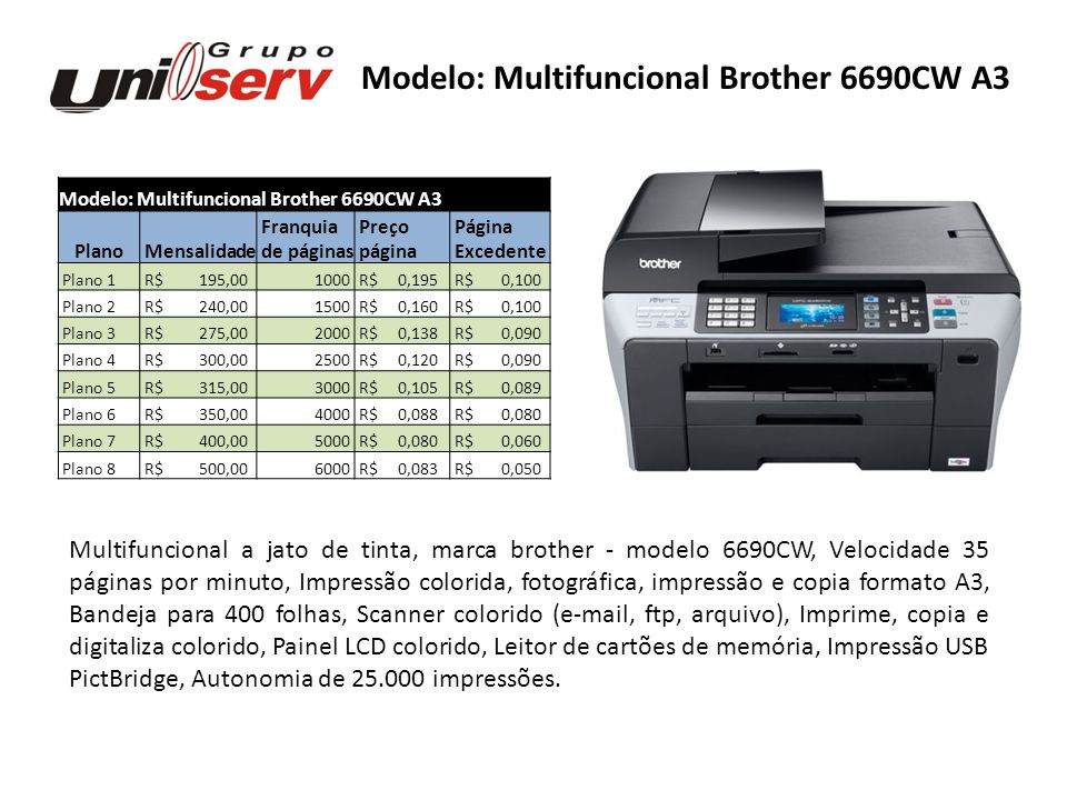 Modelo: Multifuncional Brother 6690CW A3