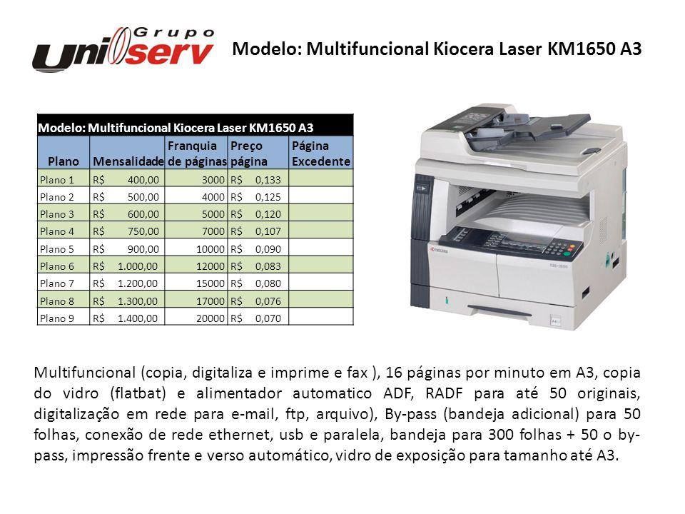 Modelo: Multifuncional Kiocera Laser KM1650 A3