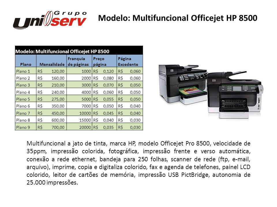 Modelo: Multifuncional Officejet HP 8500