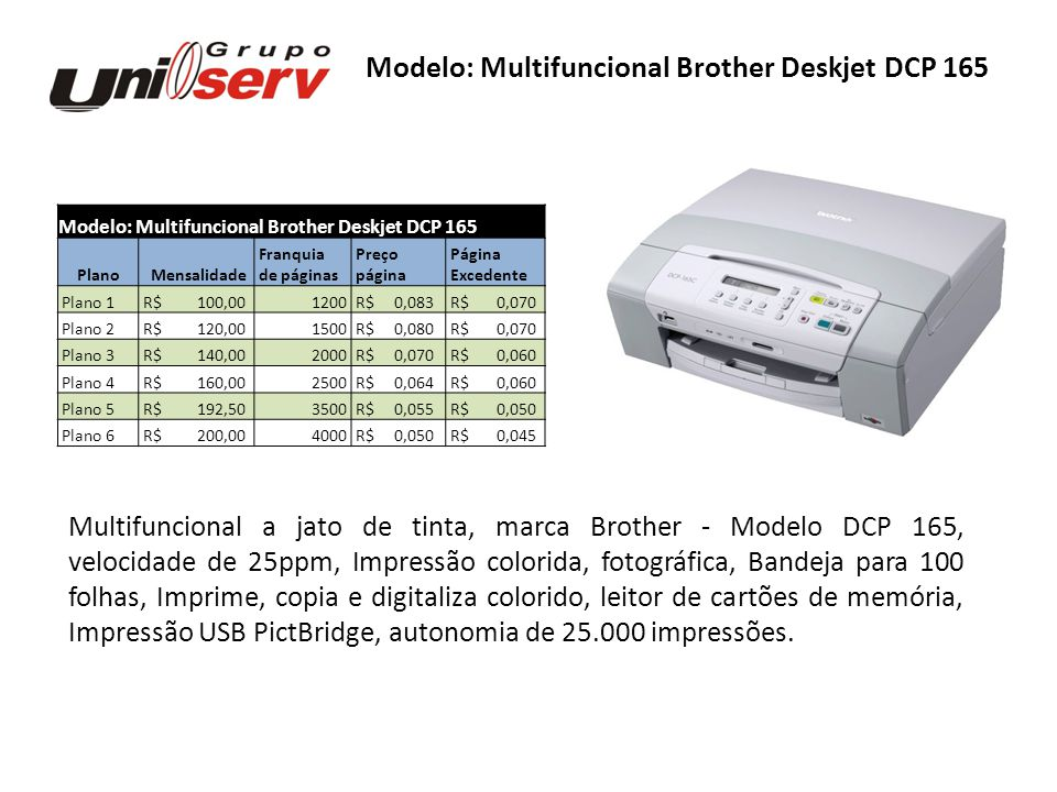 Modelo: Multifuncional Brother Deskjet DCP 165