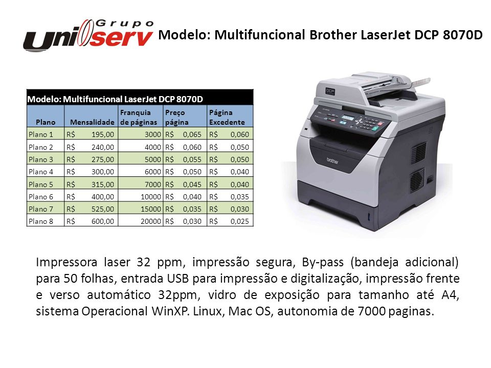 Modelo: Multifuncional Brother LaserJet DCP 8070D