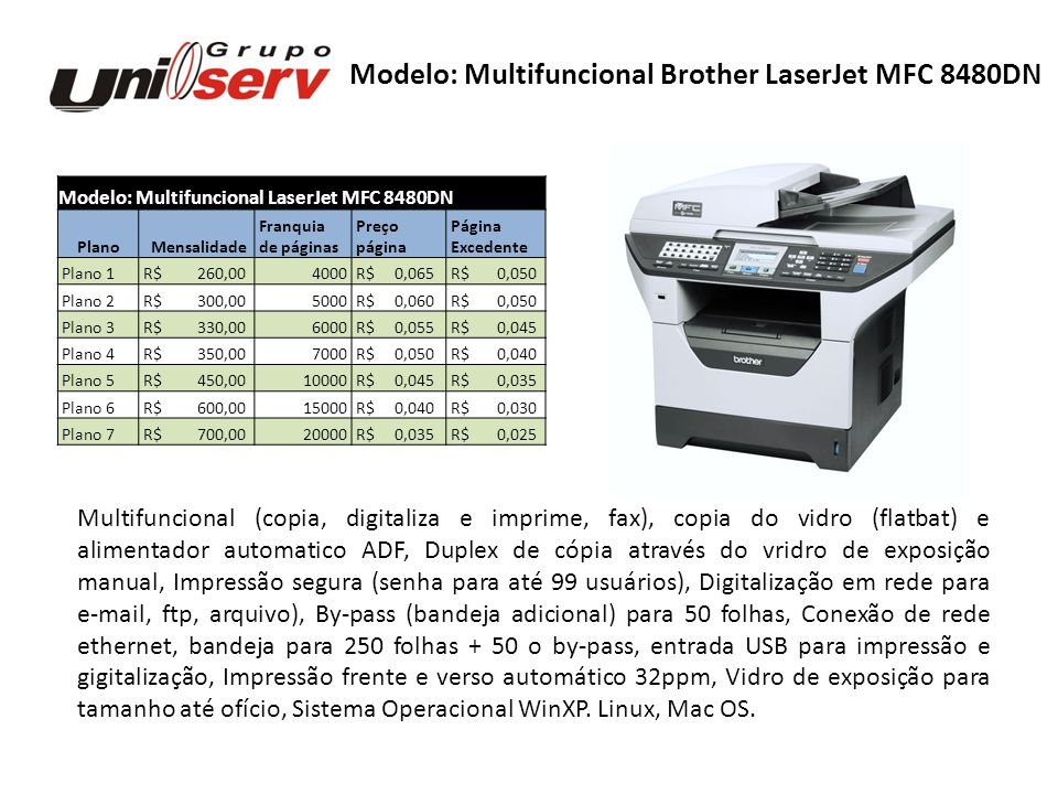 Modelo: Multifuncional Brother LaserJet MFC 8480DN
