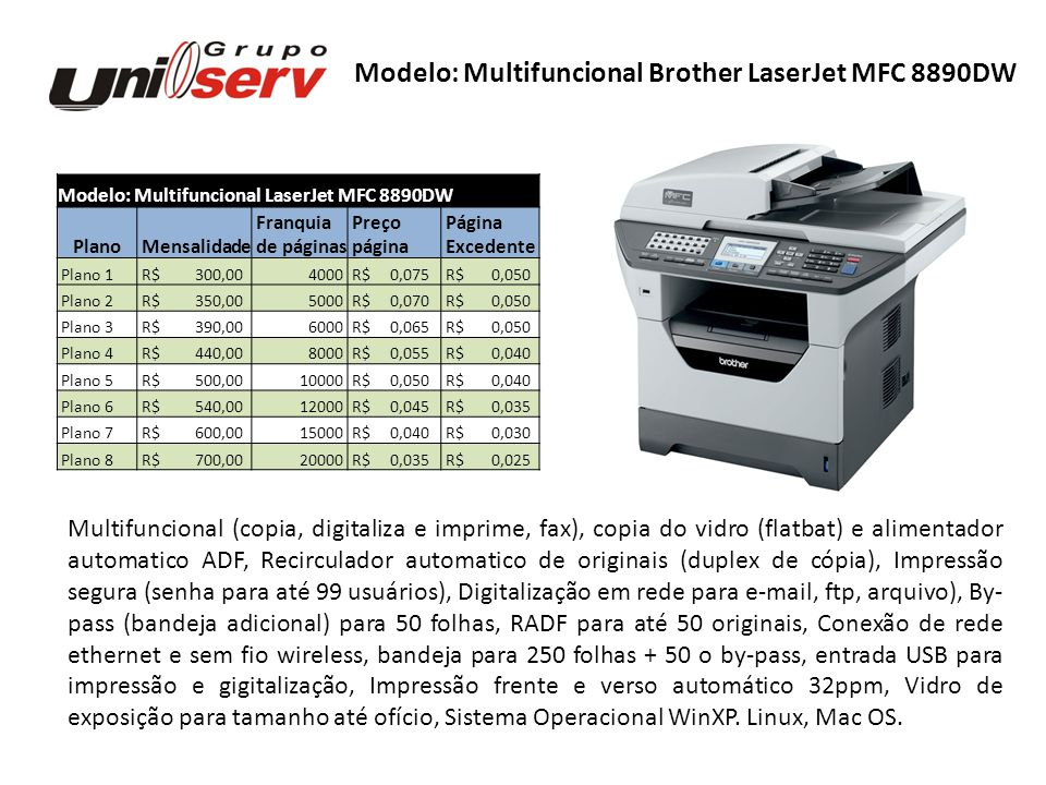 Modelo: Multifuncional Brother LaserJet MFC 8890DW