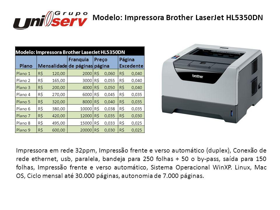 Modelo: Impressora Brother LaserJet HL5350DN