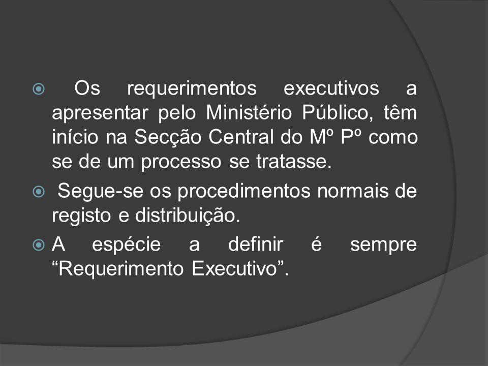 Os requerimentos executivos a apresentar pelo Ministério Público, têm início na Secção Central do Mº Pº como se de um processo se tratasse.