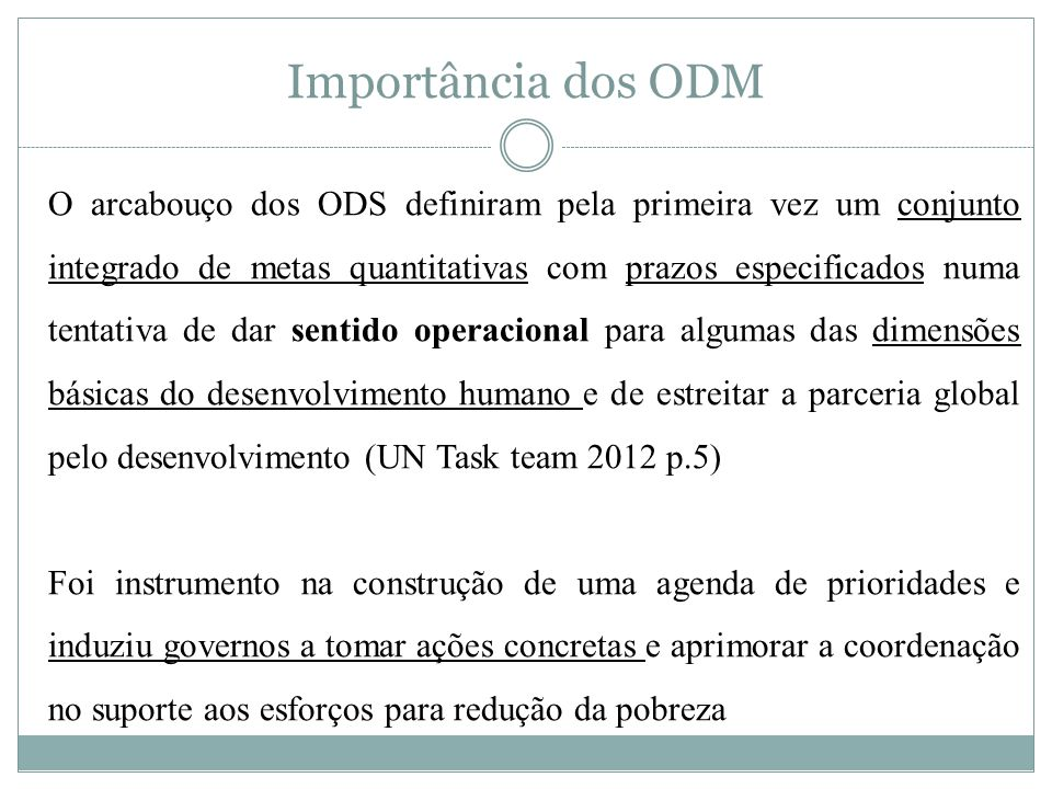 Importância dos ODM