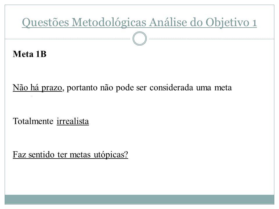Questões Metodológicas Análise do Objetivo 1