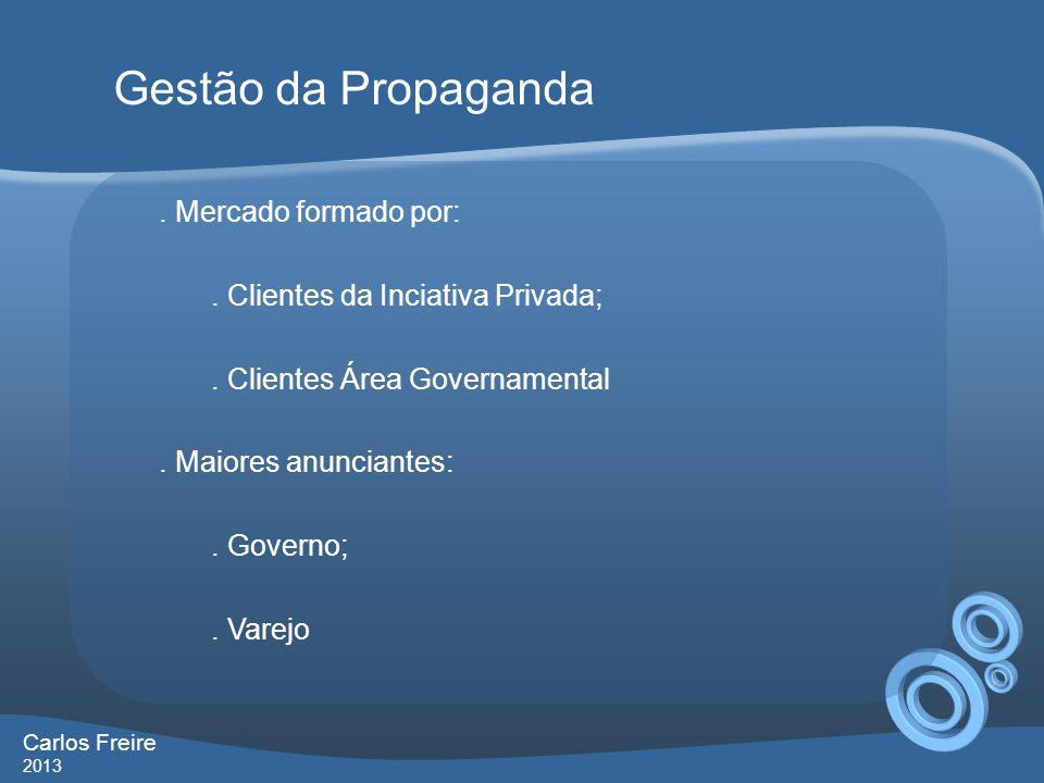 Gestão da Propaganda . Mercado formado por:
