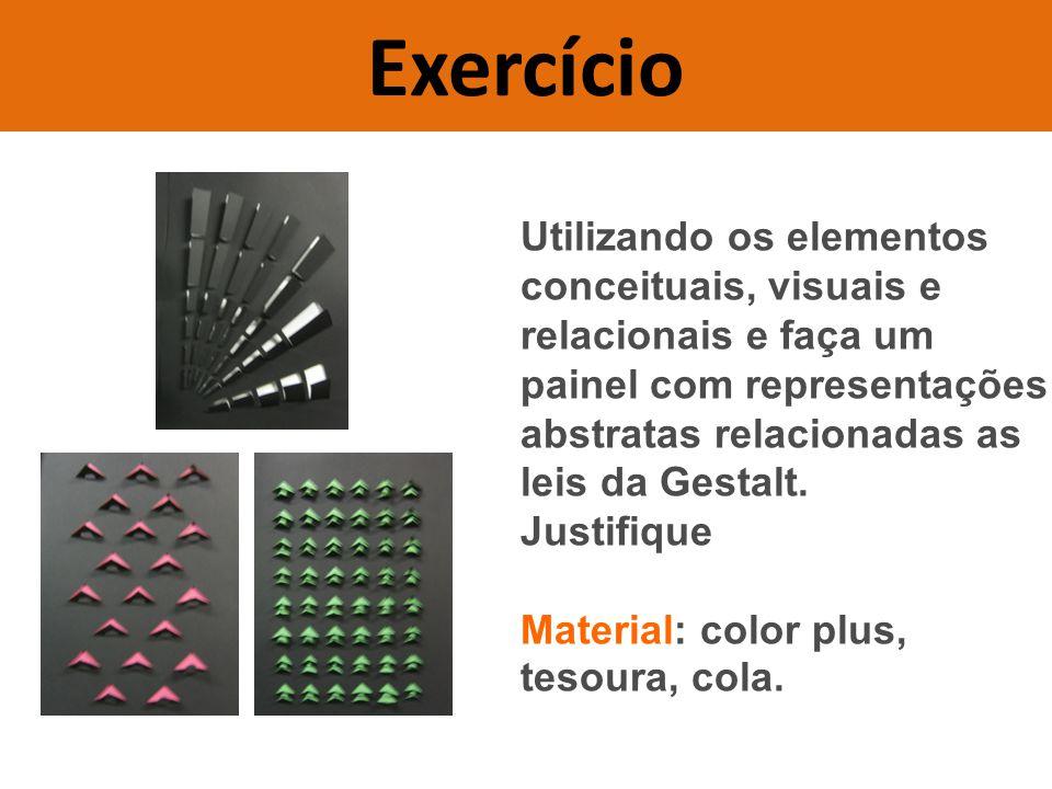 Exercício Utilizando os elementos conceituais, visuais e relacionais e faça um. painel com representações abstratas relacionadas as leis da Gestalt.