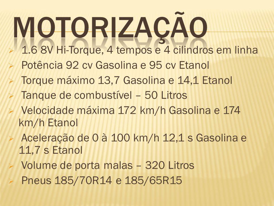 MOTORIZAÇÃO 1.6 8V Hi-Torque, 4 tempos e 4 cilindros em linha
