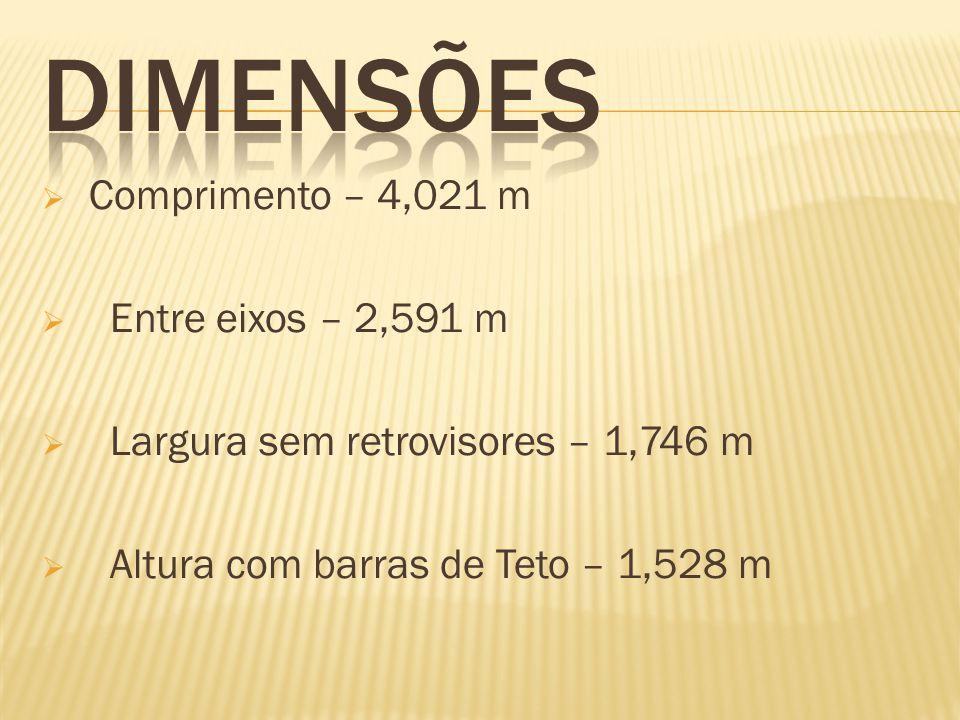 DIMENSÕES Comprimento – 4,021 m Entre eixos – 2,591 m