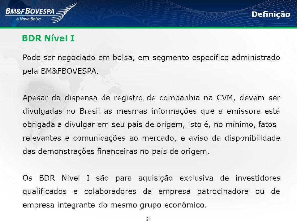Definição BDR Nível I. Pode ser negociado em bolsa, em segmento específico administrado pela BM&FBOVESPA.