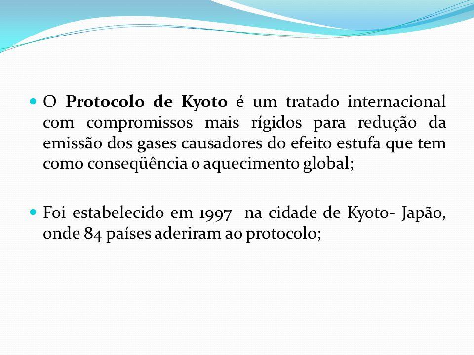 O Protocolo de Kyoto é um tratado internacional com compromissos mais rígidos para redução da emissão dos gases causadores do efeito estufa que tem como conseqüência o aquecimento global;