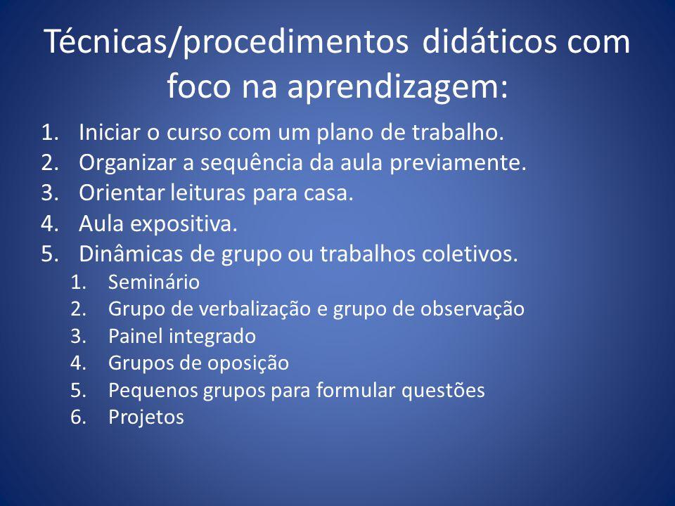 Técnicas/procedimentos didáticos com foco na aprendizagem: