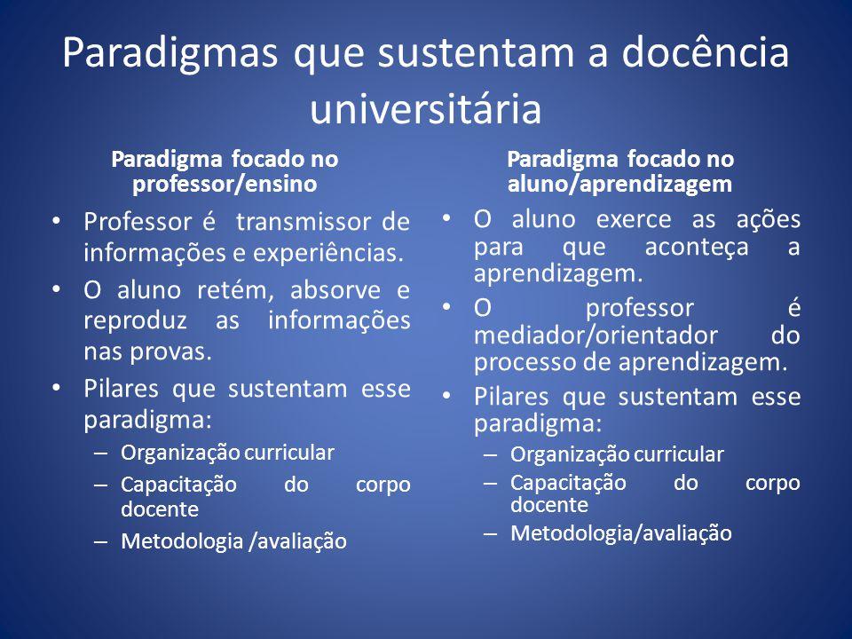 Paradigmas que sustentam a docência universitária