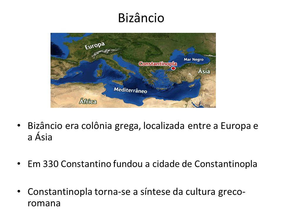 Bizâncio Bizâncio era colônia grega, localizada entre a Europa e a Ásia. Em 330 Constantino fundou a cidade de Constantinopla.