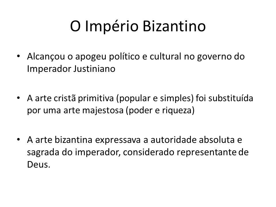 O Império Bizantino Alcançou o apogeu político e cultural no governo do Imperador Justiniano.