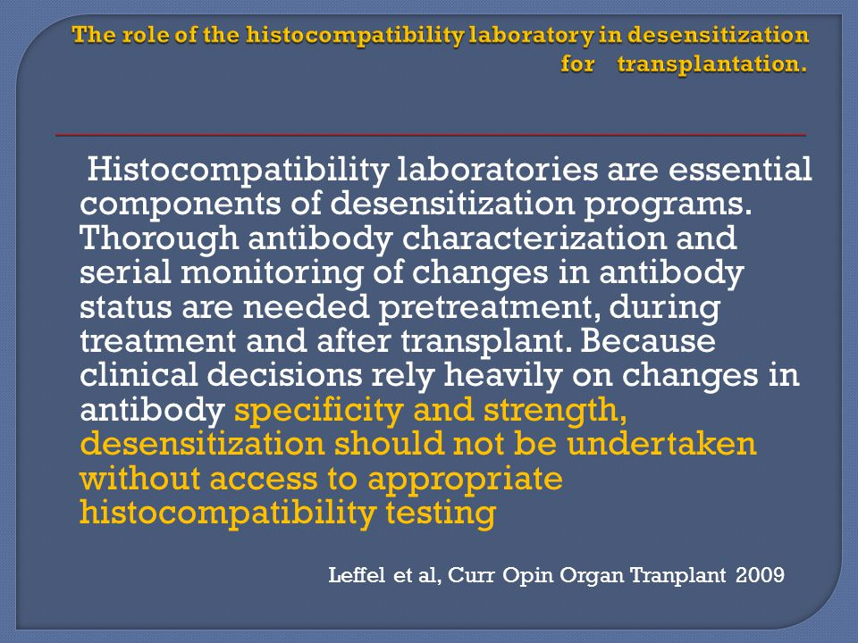 The role of the histocompatibility laboratory in desensitization for transplantation.
