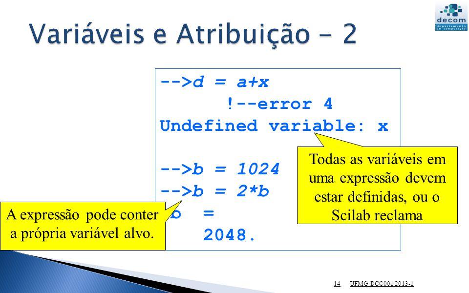Variáveis e Atribuição - 2