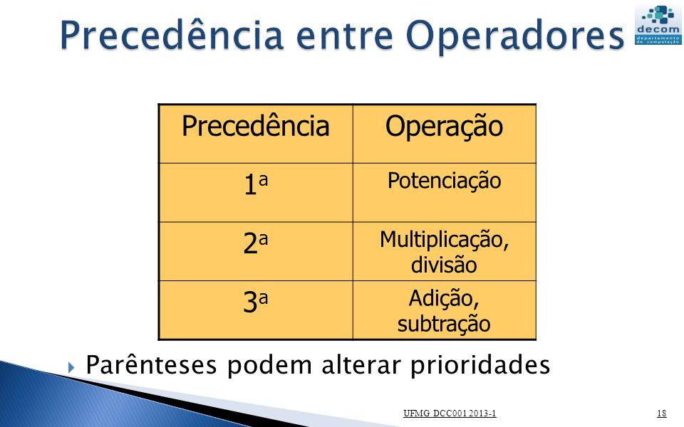Precedência entre Operadores