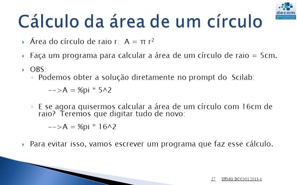 Cálculo da área de um círculo