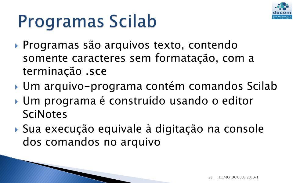 Programas Scilab Programas são arquivos texto, contendo somente caracteres sem formatação, com a terminação .sce.