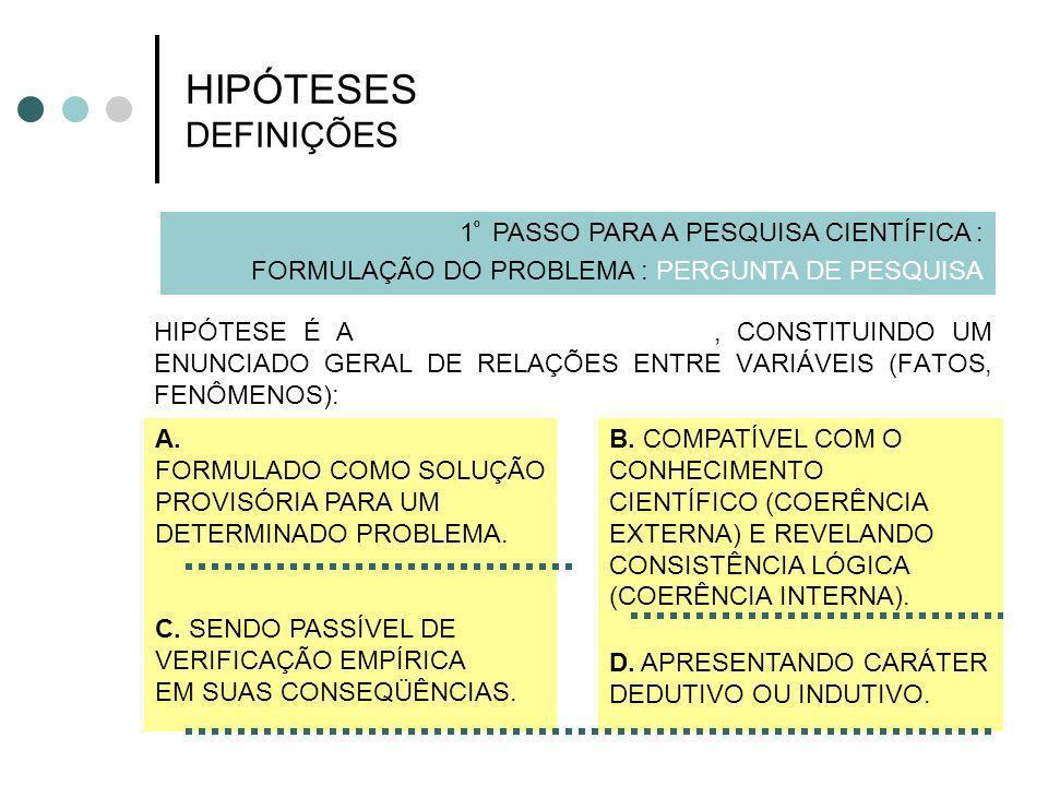 HIPÓTESES DEFINIÇÕES 1º PASSO PARA A PESQUISA CIENTÍFICA :